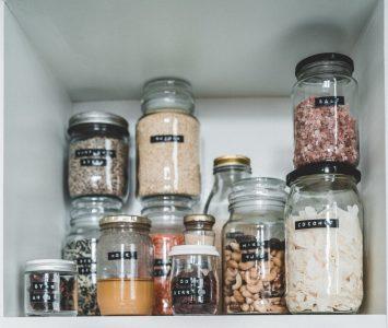 Cupboard of jars of ingredients